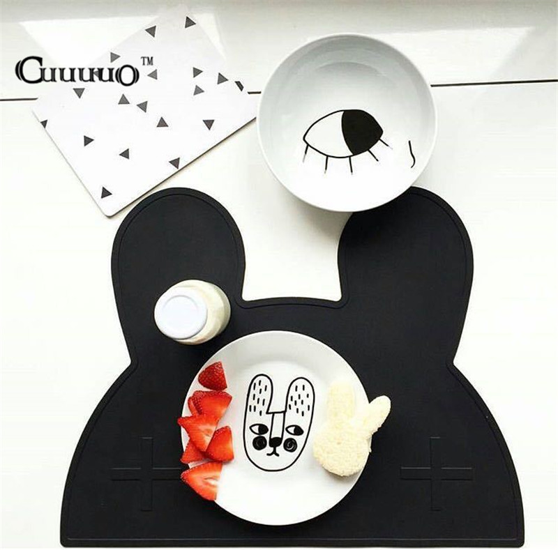 New Utensil Mats Heat Resistent Silicone Rabbit Bear Shaped Placemat For Kid Baby Tableware Mat BPA