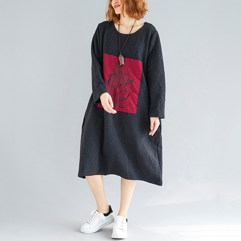Plus size Vintage Loose Dress Autumn Winter Women H Style Loose Embroidery  Thick Dresses-in Dresses from Women s Clothing on Aliexpress.com  f6ee58a56f70