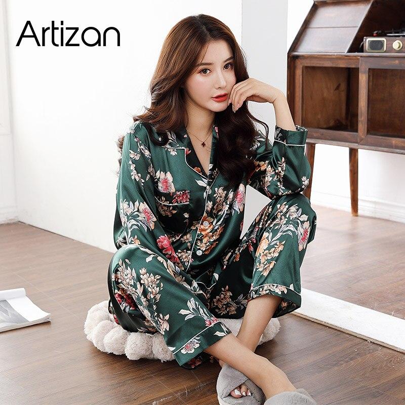 Атласная Шелковая пижама для Для женщин комплект длинный рукав; пуговицы \ Pigiama Donna одежда для сна зимняя женская пижама ночная рубашка одежда для сна; одежда для отдыха; одежда из 2 предметов