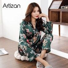 Satijn Zijden Pyjama Voor Vrouwen Set Pyjama Knop Pigiama Donna Pjs Winter Mujer Pijama Nachtkleding Nachtkleding Pizama Damska 2 stuks