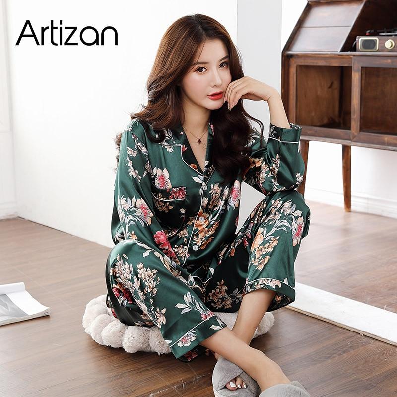 Satin Silk Pajamas for Women's Set pyjamas Button Pigiama Donna pjs Winter Mujer Pijama Sleepwear Nightwear Pizama Damska 2Pcs(China)