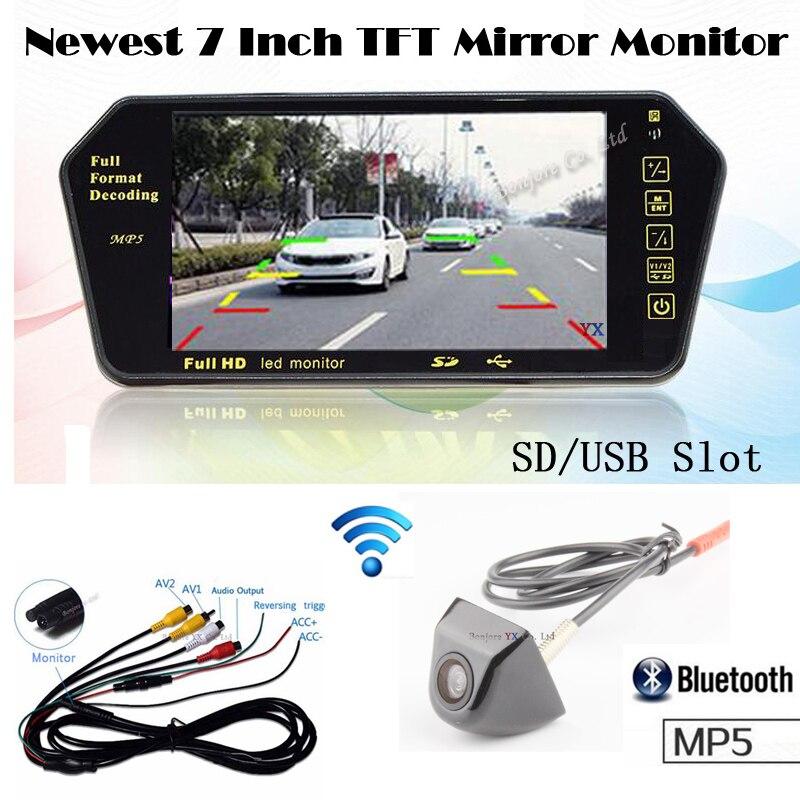 KOORINWOO Sans Fil Adopter 7 pouce Moniteur de Voiture 1024*600 Bluetooth MP5 Affichage Vidéo avec caméra de Stationnement de Voiture Inversé Cam sauvegarder