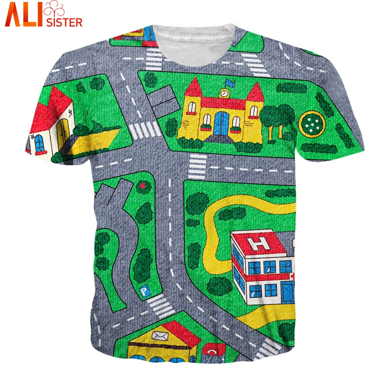 6169271cb6c Alisister Cartoon Map T Shirt 3D Men Women Funny Pullover 2019 Summer  Casual Brand Clothing Outwear Tee Tops Dropship-in T-Shirts from Men s  Clothing on ...