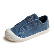 2017 Autumn New Children Washed Canvas Shoes Fashion Breathable Casual Solid Boys Shoes Sport Grils Shoes Flats(China)