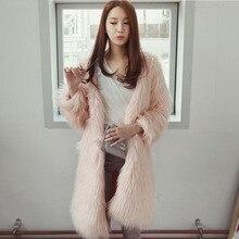 Trendy Warm Winter Pink Fake Fur Coat Parka Women Fox Fur Jacket Plus Size XXXL 4XL 5XL Long Artificial Rabbite Fur Coats