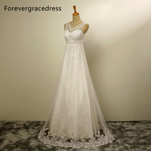 Forevergracedress New Design A Line Long Wedding Dress Elegant Scoop Neck Beaded With Lace Up Back Bridal Gown Plus Size