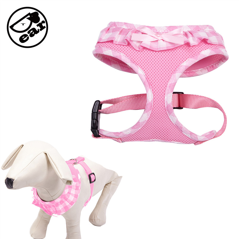 Printed Soft Breathable Mesh Pets Dog Harness Vest for Small Medium & Large Dog Chest harness Adjustable 3 colors XS,S,M,L,XL