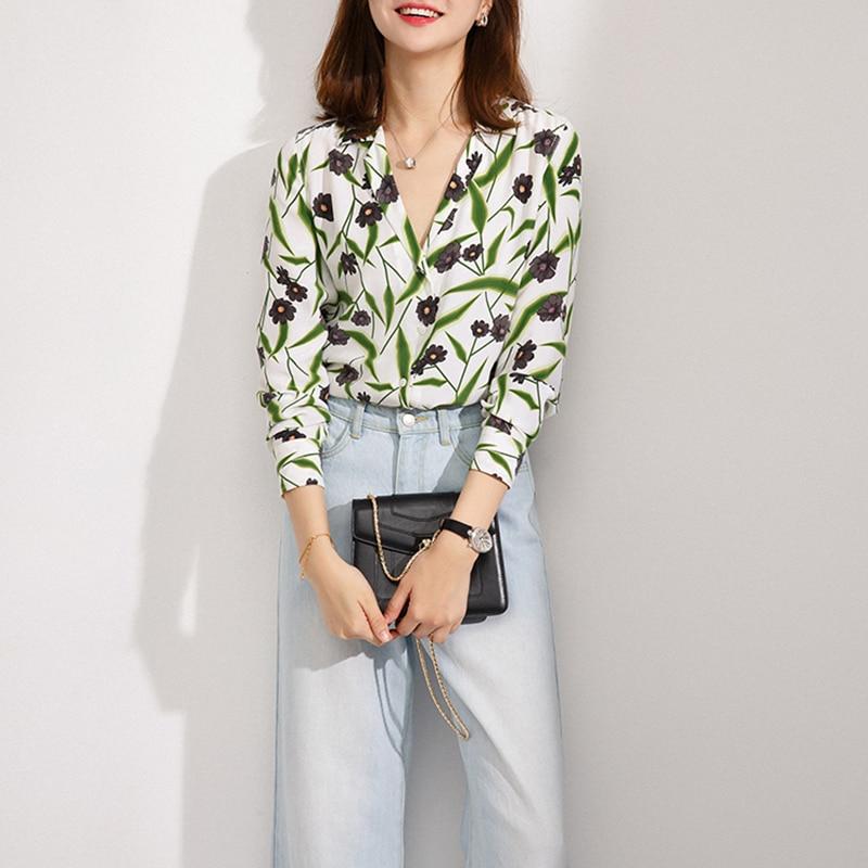 100% natural silk   blouse   print flower   shirt   chiffon blusas women office lady high quality oversized runway   blouse     shirt   2018 new