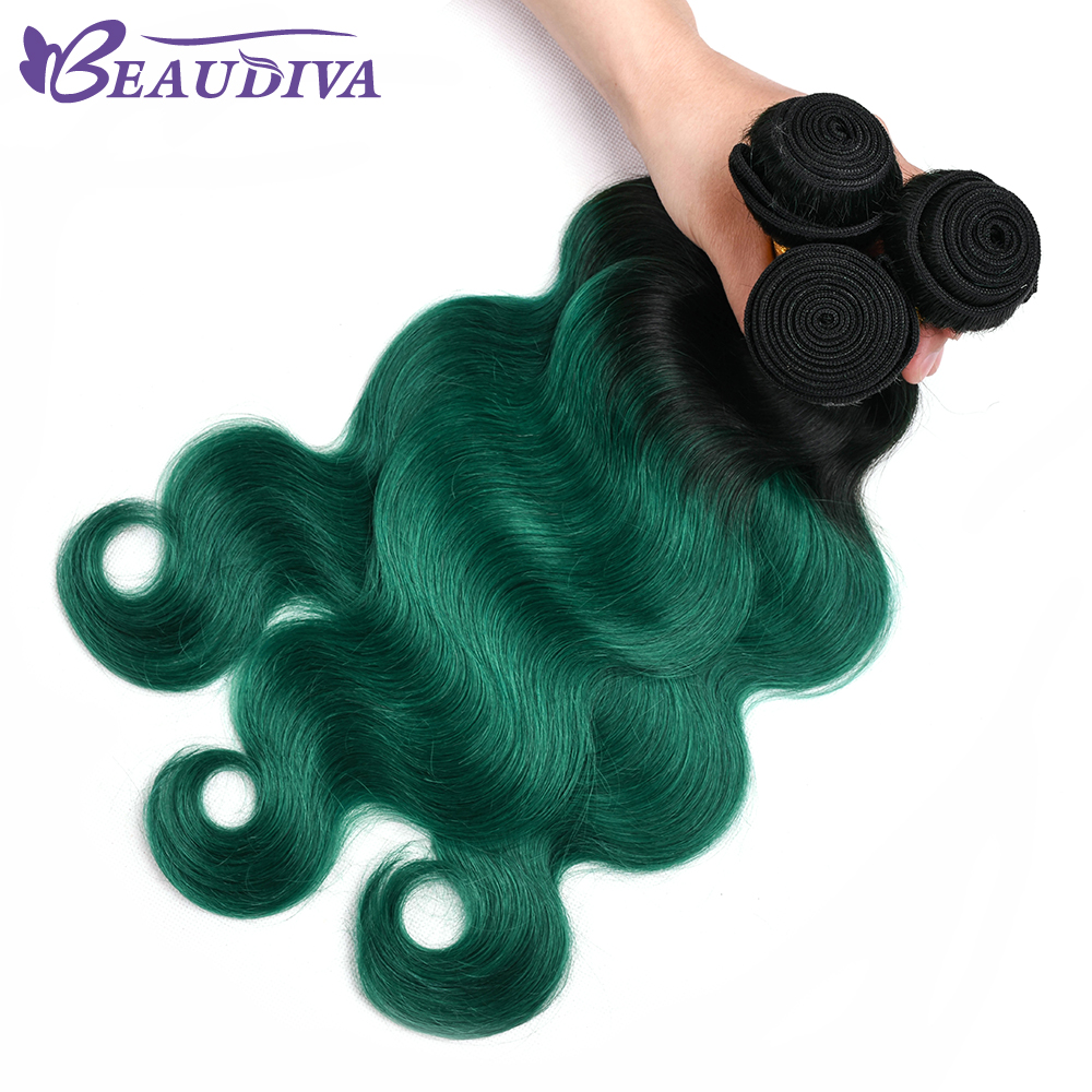 Beaudiva Hair Brazilian Body Wave Hair 3 Bundles Human Hair Extention Remy Hair TB Olive Green Color 10-24 inch Free Shipping