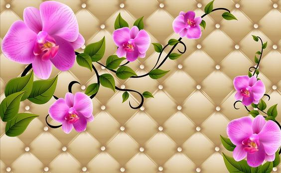Customize Simple 3d Flowers Wallpaper Wall Sticker Wallpapers Mural Non Wvoen Factory Direct20152367 In From Home Improvement