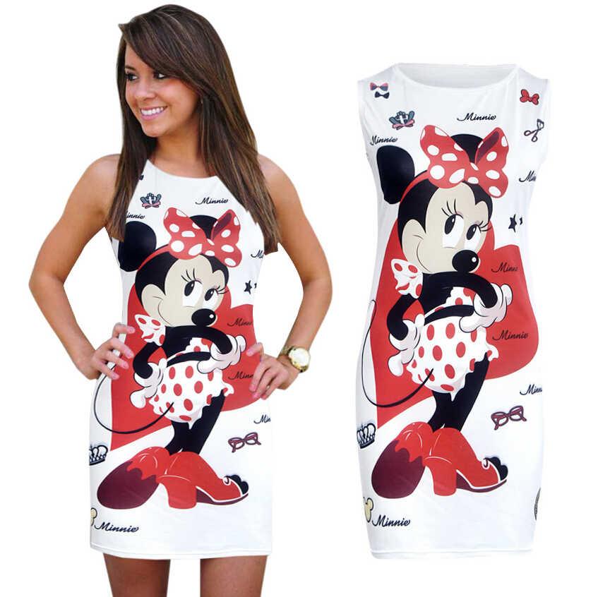 Disney bayan elbise minnie moda kadın kılıf kalça ince elbise Yeni Seksi Kalça Elbise Baskı Moda Desen