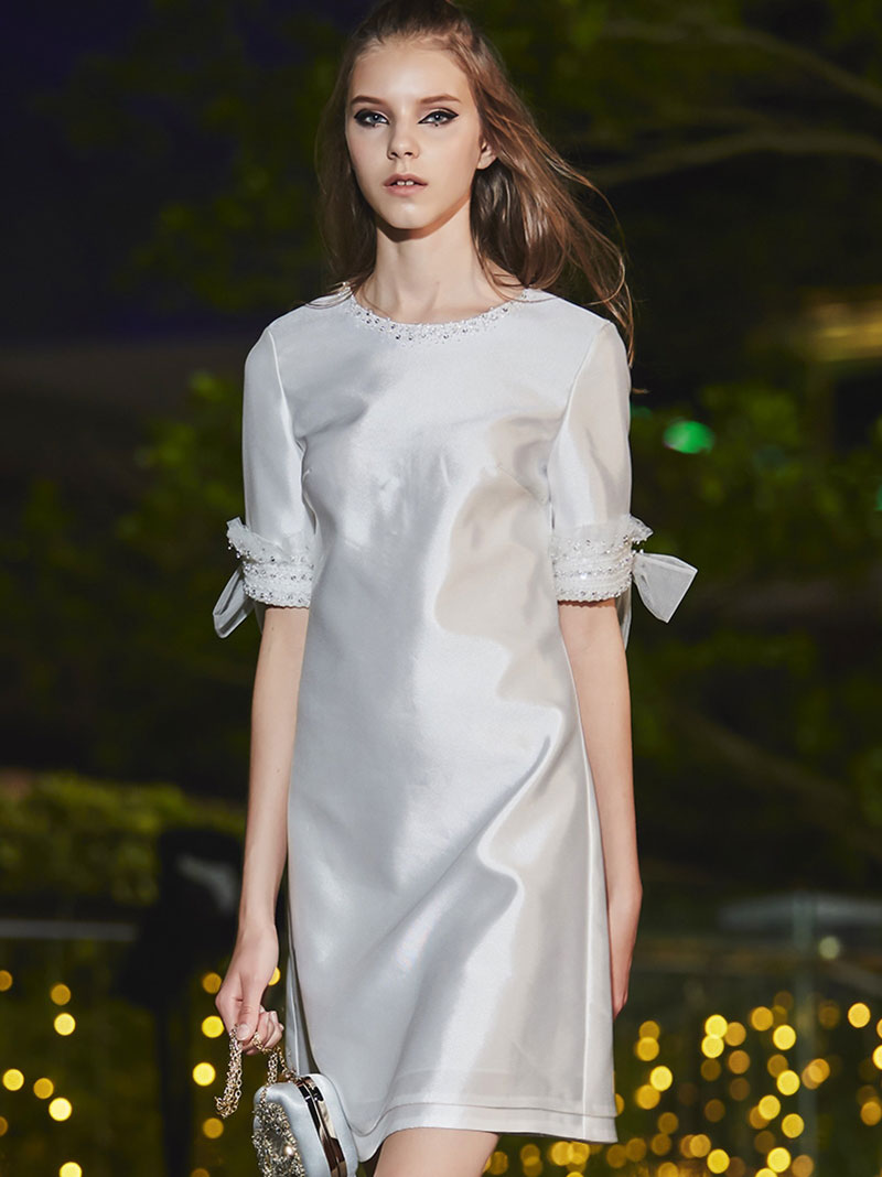 Robe O Élégant Solide A Demi Manches Robes Mini Mode Printemps Femmes 2019 Partie Q100 D'été Cou ligne Féminine De wRFYqOOxPE
