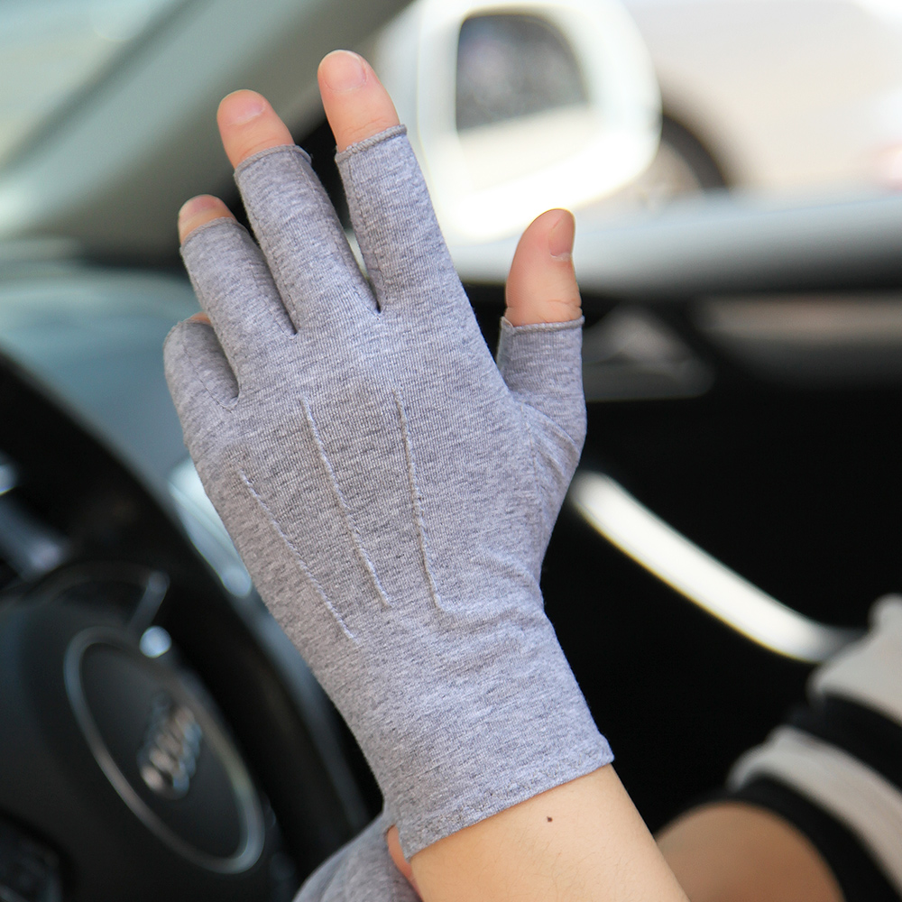 Summer Gloves Unisex Semi-Finger Sunscreen Gloves Man Woman Thin Non-Slip Driving Cotton Half Finger Mittens Male Female SZ109N
