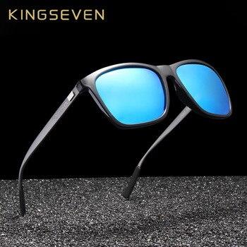 a6911cc660 KINGSEVEN marca de marco de aluminio de gafas de sol hombres polarizadas  espejo gafas de sol de mujer gafas accesorios N787