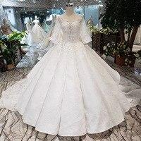 Vestido de noiva 2019 Роскошные бальное платье Свадебные платья ручной работы Цветы блестками V образным вырезом фонари рукава свадебные