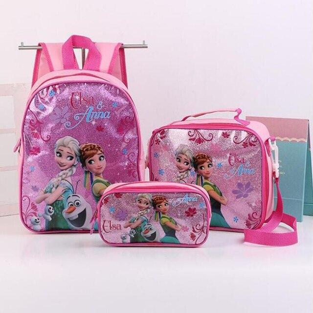 186ff38ba9 Fashion Kids Girls Cartoon Elsa Princess Schoolbags Cute Kids Backpacks  Children School bag 3 Piece Set