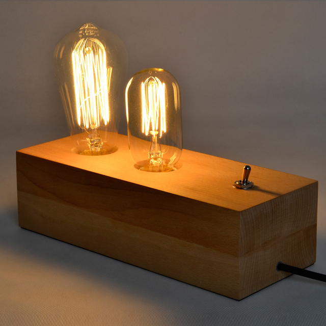 Loft Vintage Industrial Table Light Edison Desk Log Wood