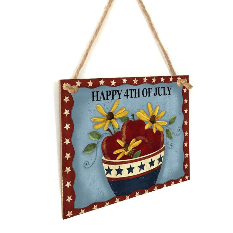 Image 3 - Vintage Wooden Hanging Plaque Happy 4th Of July Flower Sign Board Wall Door Home Decoration Independence Day Party Gift-in Plaques & Signs from Home & Garden