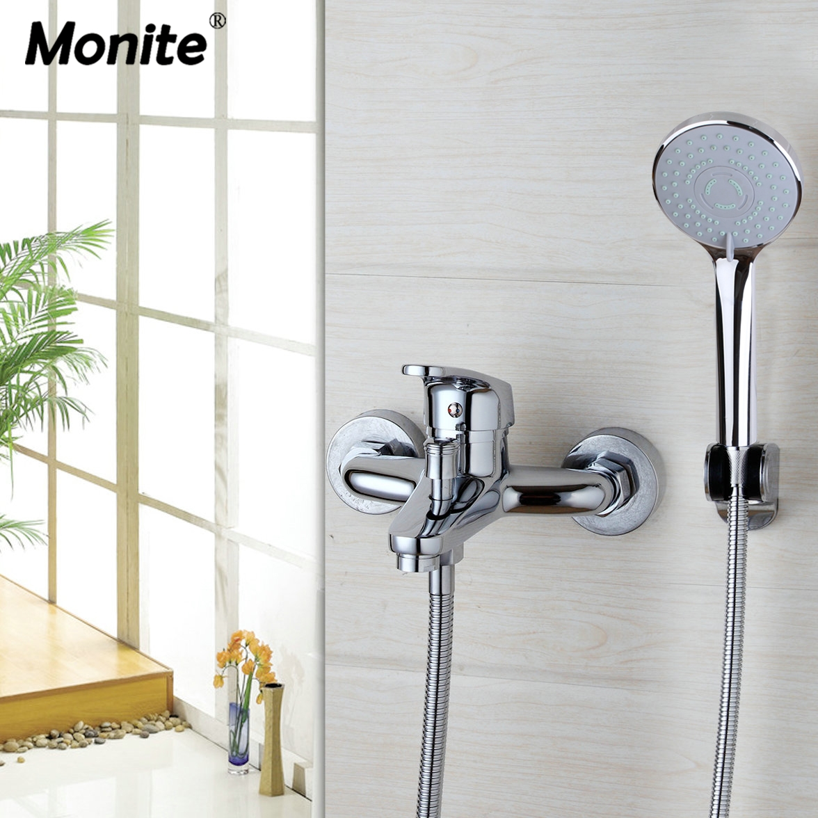 Wall Mounted Rain Shower Set Luxury Square Shower Head Shower Set with Hand Shower Set Faucets