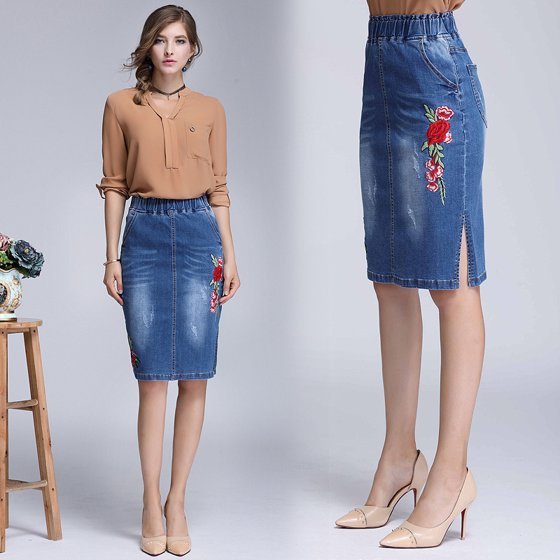 2018 Spring and Autumn new arrival womens denim skirts Vent Cowboy Longuette elastic waist denim skirts for women 670
