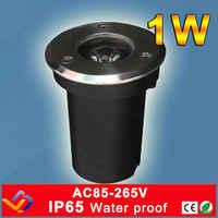 1 W CE & RoHS AC85-Lampada Sotterranea IP65 Impermeabile LED Spot Terra del Giardino HA CONDOTTO LA luce sotterranea