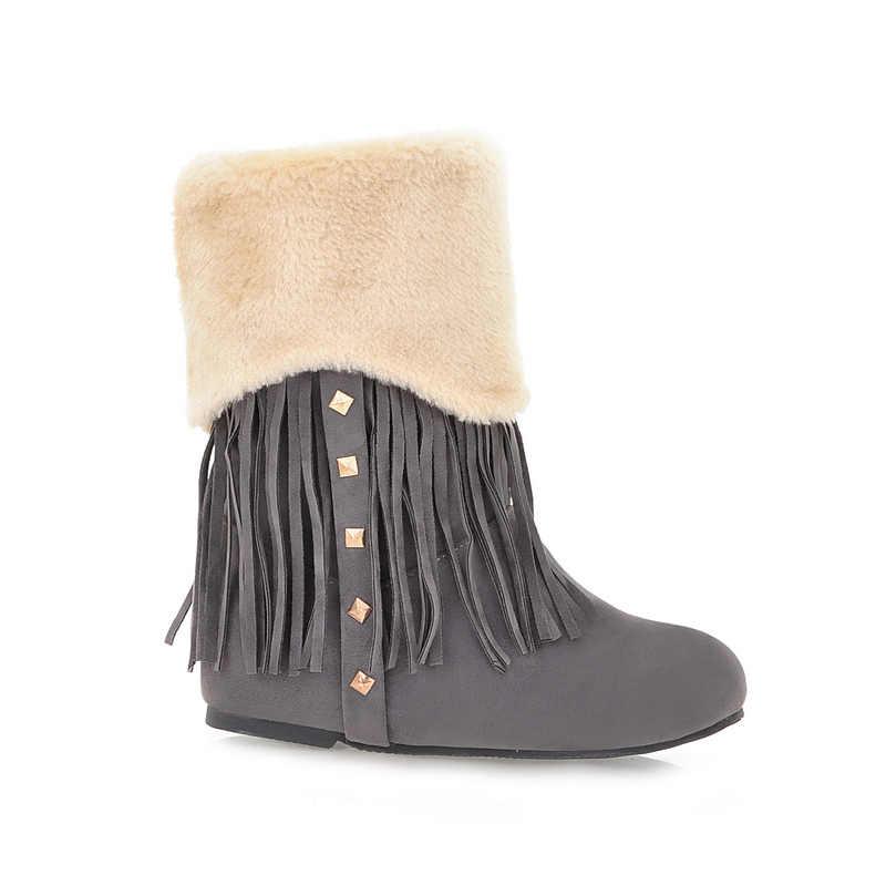 REAVE KEDI Sıcak Kar botları kadın gizli topuklu kama çizmeler Püskül Perçinler Kürklü Ayakkabı zapatos de mujer