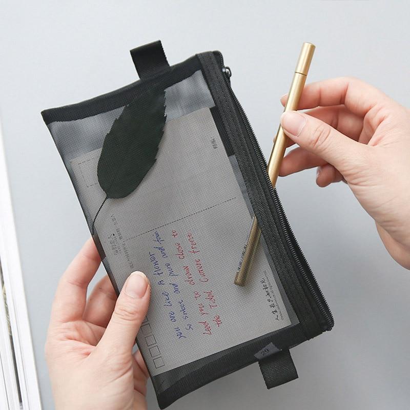 Pencil Bag Transparent Mesh School Pencil Case Large Capacity Nylon Pen Bag Case For Kid Gift Office Supplies Creative Papeterie
