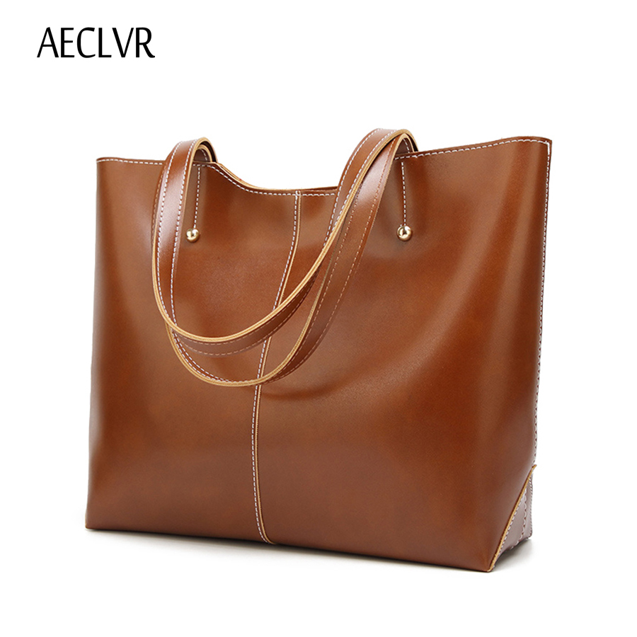 AECLVR women shoulder bag Oil wax leather big size Women Messenger Bags Large capacity Casual Handbags Female Designer Totes bag seven skin brand women oil wax leather shoulder bags vintage designer handbags female big tote bag women s messenger bags 2017