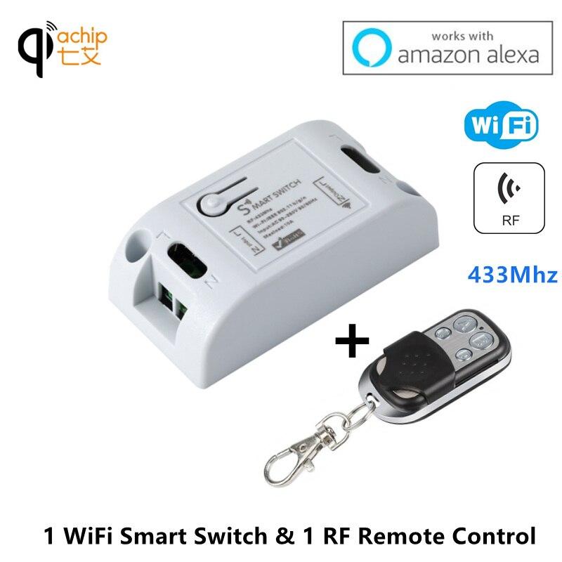 Wi-fi Interruptor Inteligente 433 mhz Receptor RF Módulo de Automação Residencial Inteligente Interruptores de Luz Controle Remoto Sem Fio Do Temporizador 110 v 220 v trabalhar com Alexa