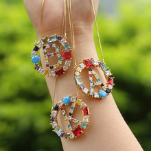 1Pcs Hot style Gold Color Micro Pave Rainbow CZ Cubic Zirconia A-Z Initials Letter Pendant Necklaces For Women Jewelry