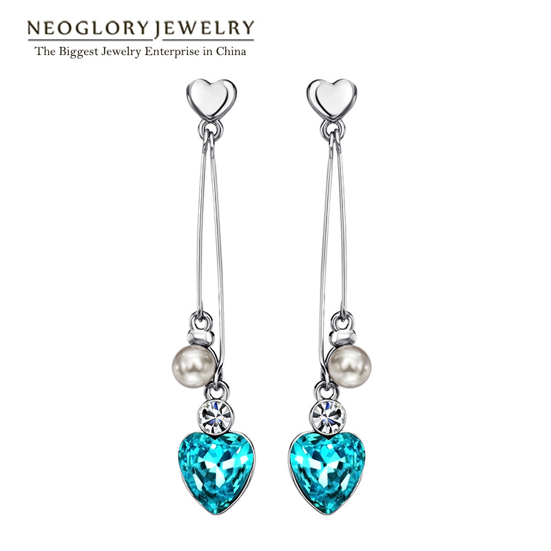 Neoglory Simulated Pearl Crystal Rhinestone Blue Long Tassel Heart Love Dangle Drop საყურეები საჩუქრები სამკაულები 2018 New He1 B1