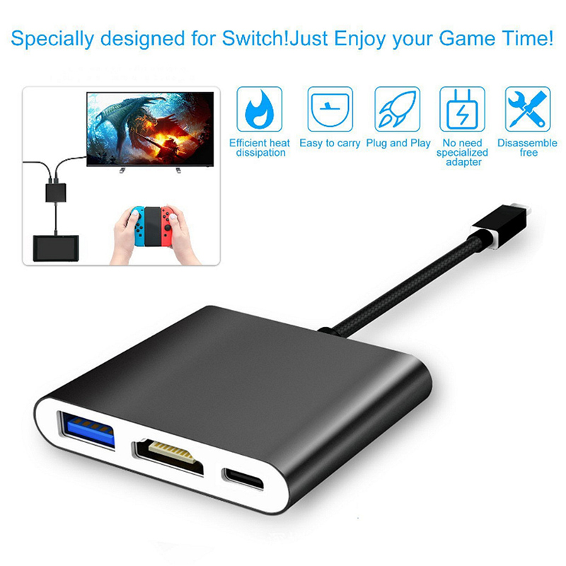 Portable 3 in 1 Type-C to USB-C Hub 4K 1080p HDMI USB3.0 Adapter Converter Dock for Nintendo Switch NS Video Audio usb c type c to hdmi vga 3 5mm audio adapter 3 in 1 video converter for macbook google chromebook pixel laptop cast screen to tv
