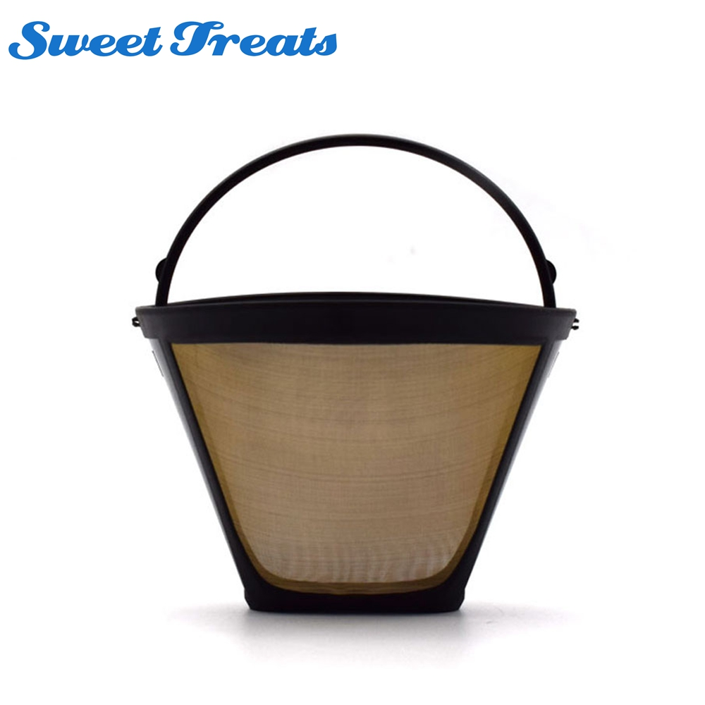 Useful Reusable Coffee Filter 10-12 Cup Permanent Cone-Style Coffee Maker Machine Filter Gold Mesh With Handle Cafe Coffees Tool