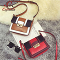 Vintage color stitching gold buckle simple mini-flap shoulder bag handbag for women crossbody messenger bag purse pu leather bag