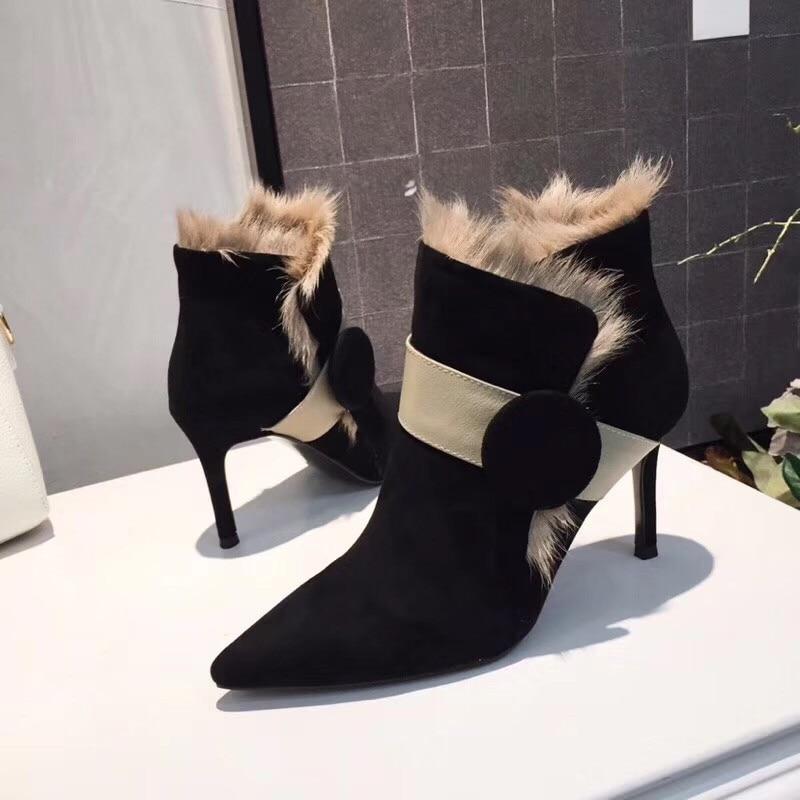 Knsvvli Pista Mujeres Mujer Botas Puntiagudo Decoración Negro Pieles Tobillo Brown Zapatos Dedo Gamuza Luz De light Alto Black Tacón Sexy Botón Marrón ZCFrZ