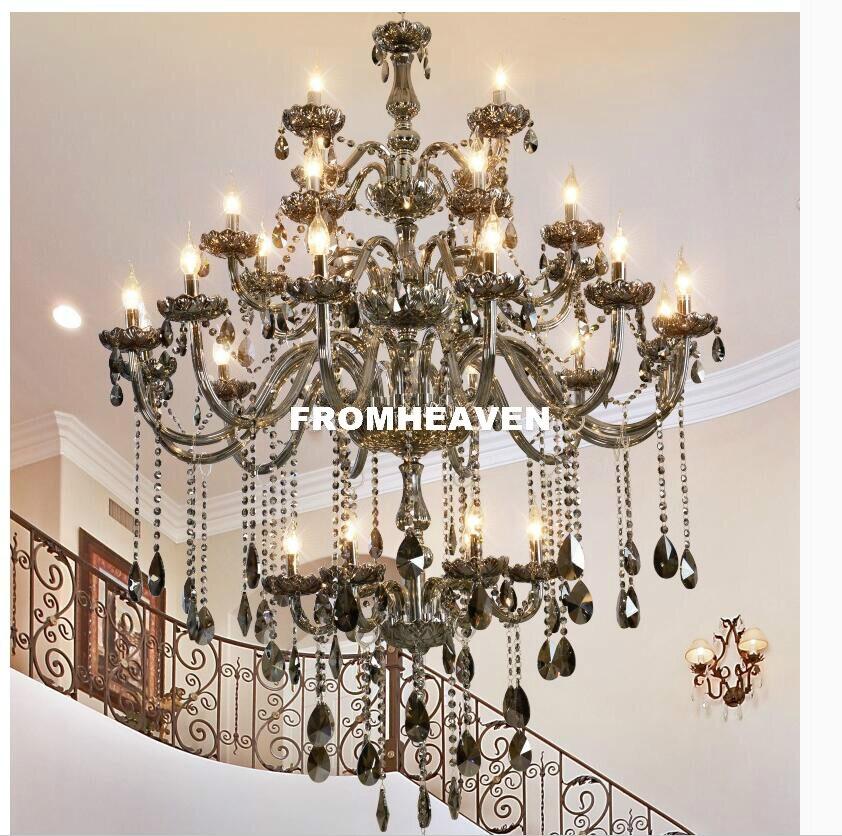Moderní křišťálové lustry Smokey 30L pro obývací pokoj Ložnice vnitřní lampa K9 Crystal Lustres De Teto Stropní lustr