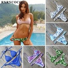 RXRXCOCO Brand 2018 Hot Sexy Bikinis Women Set Leaf Printed Swimwear Push Up Bathing Suits Bikini Top Bandage Swimsuit Beachwear