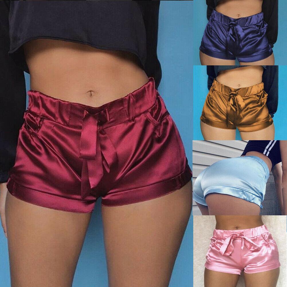New 2019 Sexy Women Shorts Summer Silk Slim Beach Casual Pocket Shorts Female Hot Summer Satin Running Gym High Waist Shorts