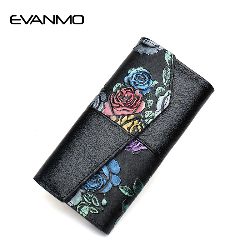Zipper Purse Women Genuine Leather Long Purses Large-capacity Chinese Style Rose Flower Wallet Female Coin Card Holder Wallets