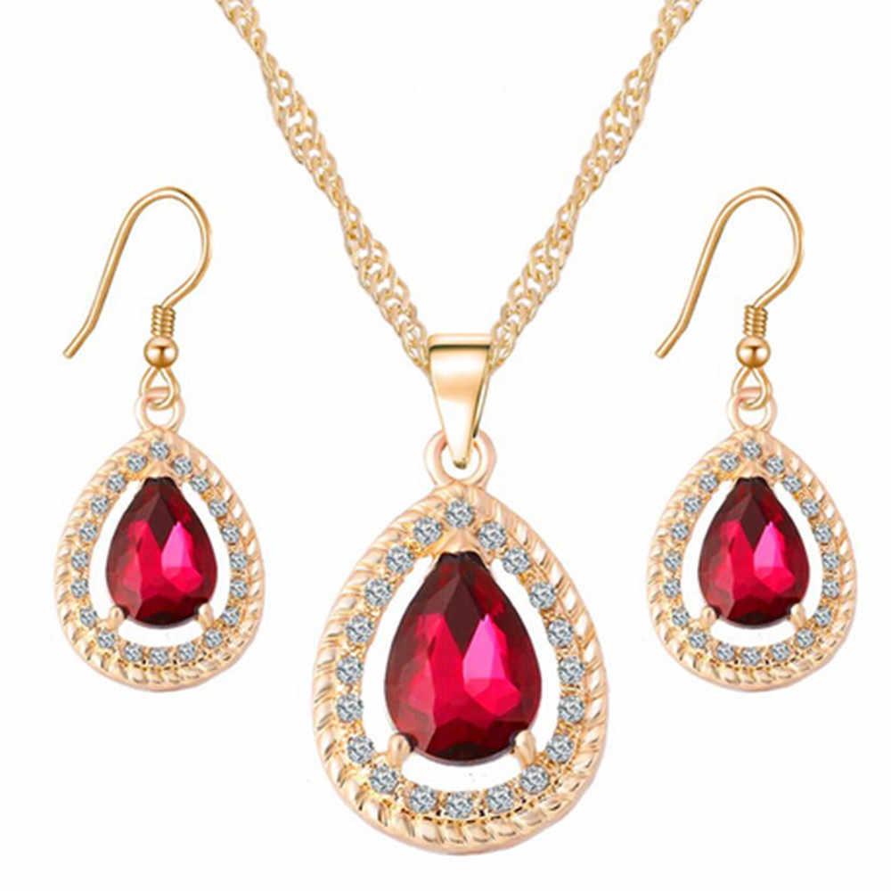 Màu vàng Water Drop Cubic Zirconia Bông Tai Vòng Cổ Fashion Wedding Jewelry Sets Pha Lê Hollow Pendant Bridal Earring Set