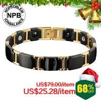 P098 Noproblem Ion Balance Brand Friendship Charm Men Fashion Vintage Infinity Power Metal Tourmaline Bracelet