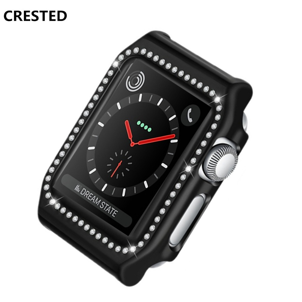 CRESTED Diamond Case Cover For Apple Watch band 42mm 38mm Iwatch series 3 2 1 PC Frame Crystal Protective Shell Accessories crested watch pc frame case protective case for apple watch 42 mm 38 mm series 1 2 colorful plating cover shell for iwatch