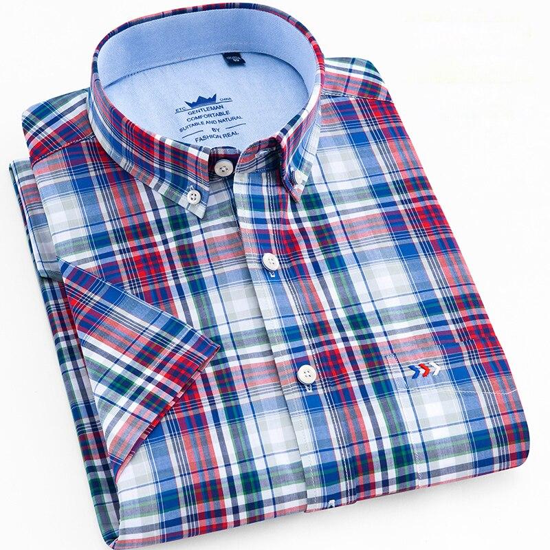 Männer Standard-fit Kurzarm Checkered Plaid Shirt Patch Brust Tasche Casual-taste-unten Komfortable Baumwolle Kleid Shirts GläNzende OberfläChe Hemden Hemden