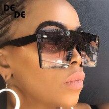 2019 Oversize Square Sunglasses Women Fashion Flat Top Gradi