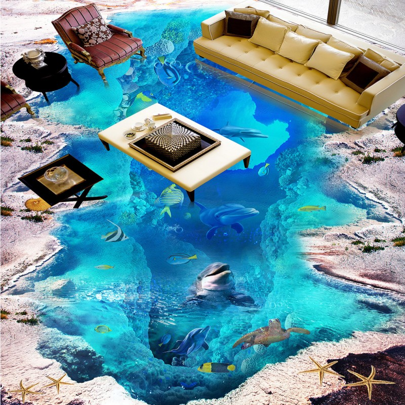ФОТО Free Shipping lobby hall entrance decoration 3D Stereo Sea World Dolphin Floor Painting self-adhesive floor wallpaper mural