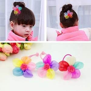 Rubber Bands Petal Flowers-Bows Hair-Accessories Children Girls with Bead Grooming Product