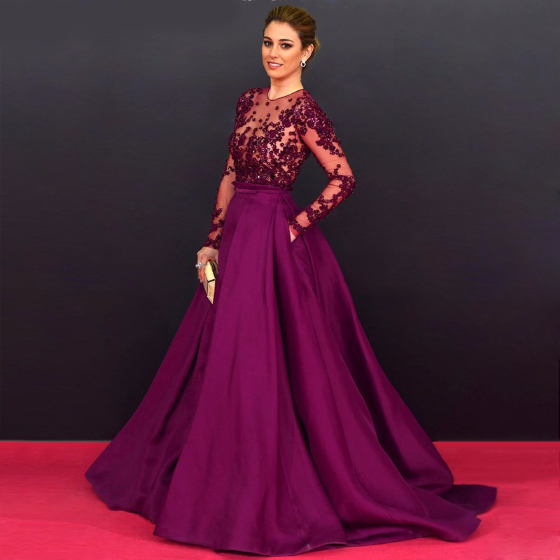 New Arrival 2016 Celebrity Dresses Ball Gown Long Sleeves Purple ...