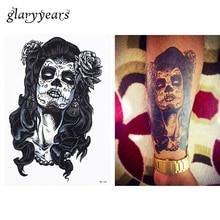 1pc Beautiful Long Hair Skull Belle Flowers Design HB180 Cosplay Temporary Women Men Arm Waist Body Art Tattoo Sticker Hallowmas