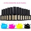 Wholesale Cheap 24pc/set 10ml Blue Place Nail Gel Polish Shiny Vanish Lacquer UV LED Lamp 120 Colors Soak Off Cosmetics Manicure