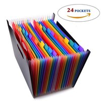 24 Pockets Expanding Files Folder Organizer Portable Business File Organizer Box Storage Bag A4 Business File